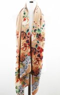 ハフラワー紋スカーフ (ベージュ)